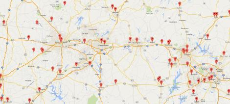 Farmers markets in the NC Piedmont region registered with the USDA. Source: http://search.ams.usda.gov/farmersmarkets/googleMapFull.aspx
