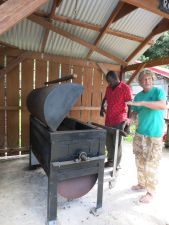 Kim showing us the roaster he built