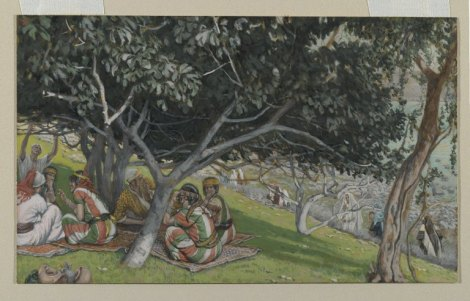 opaque watercolor over graphite on gray wove paper depicting men and women resting under a fig tree